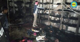 जौनपुर। शार्ट सर्किट की चिंगारी से कपड़े की दूकान में लगी भीषण आग